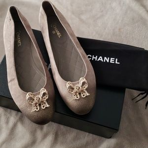 Chanel Bow brown gold glitter Flats size 40